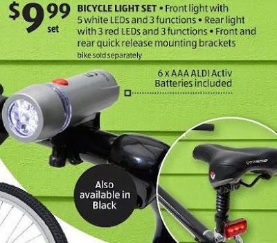 Aldi ad for Bikemate bicycle LED light set