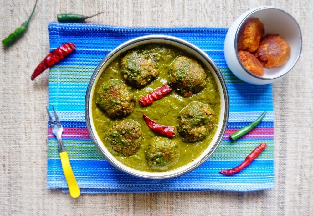 Palak kofta,spinach kofta,spinach curry,palak paneer,spinach paneer
