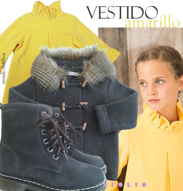 vestido terciopelo amarillo liolio combinado gris