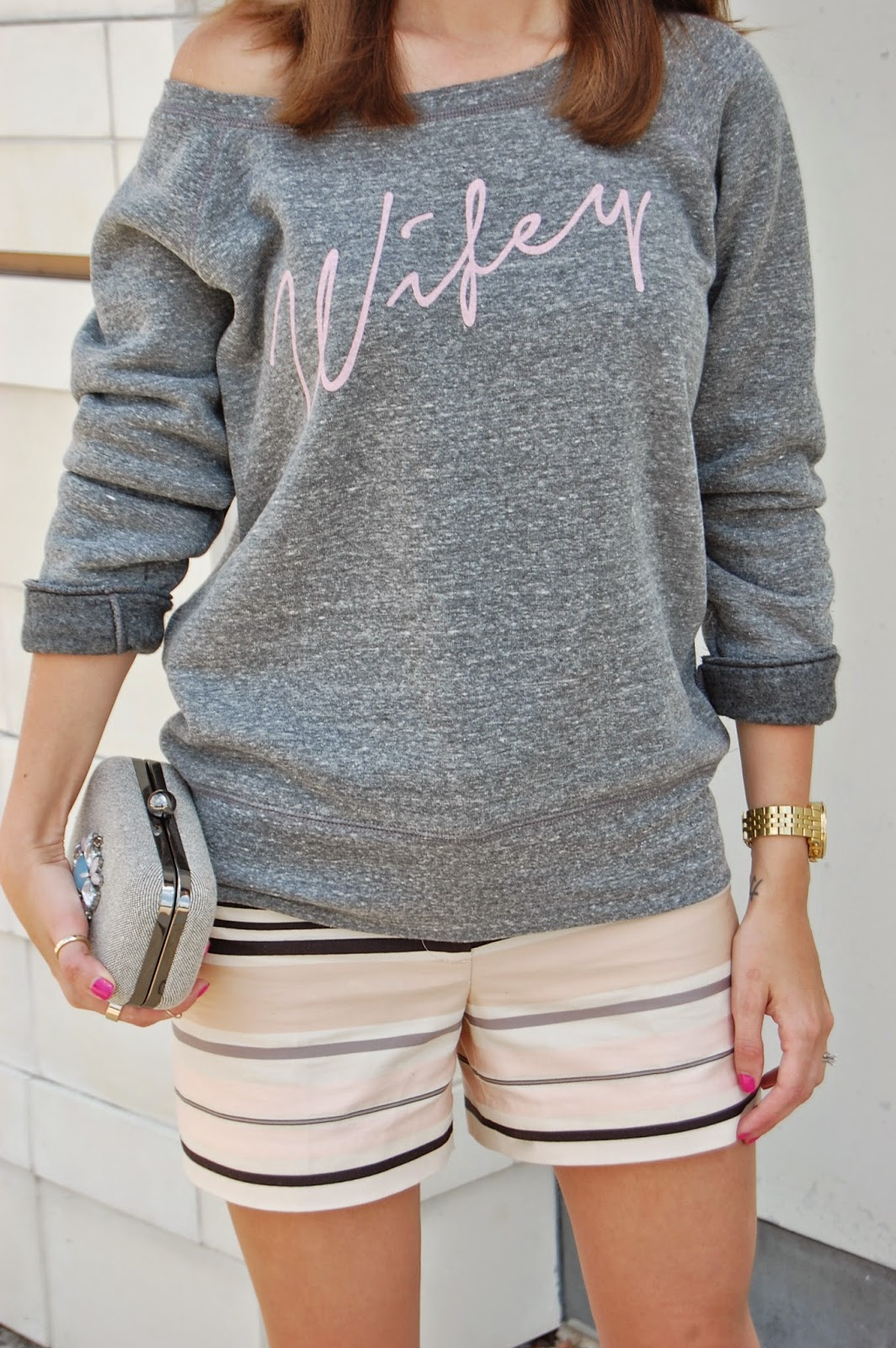 Wearing Team Bride Apparel Wifey Slouchy Sweatshirt, Loft Pink Striped Shorts, Loft thin strap heels, Sweatshirt, shorts and heels look
