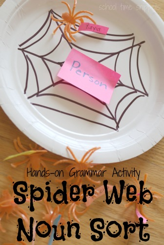 Hands-on grammar activity reinforcing different types of nouns.  Printable version of our Spider Web Noun Sort also available!