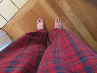 red plaid pajama pants