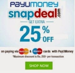 Snapdeal offers Extra 25% off (no minimum purchase) upto Rs. 250 (Recommendations )
