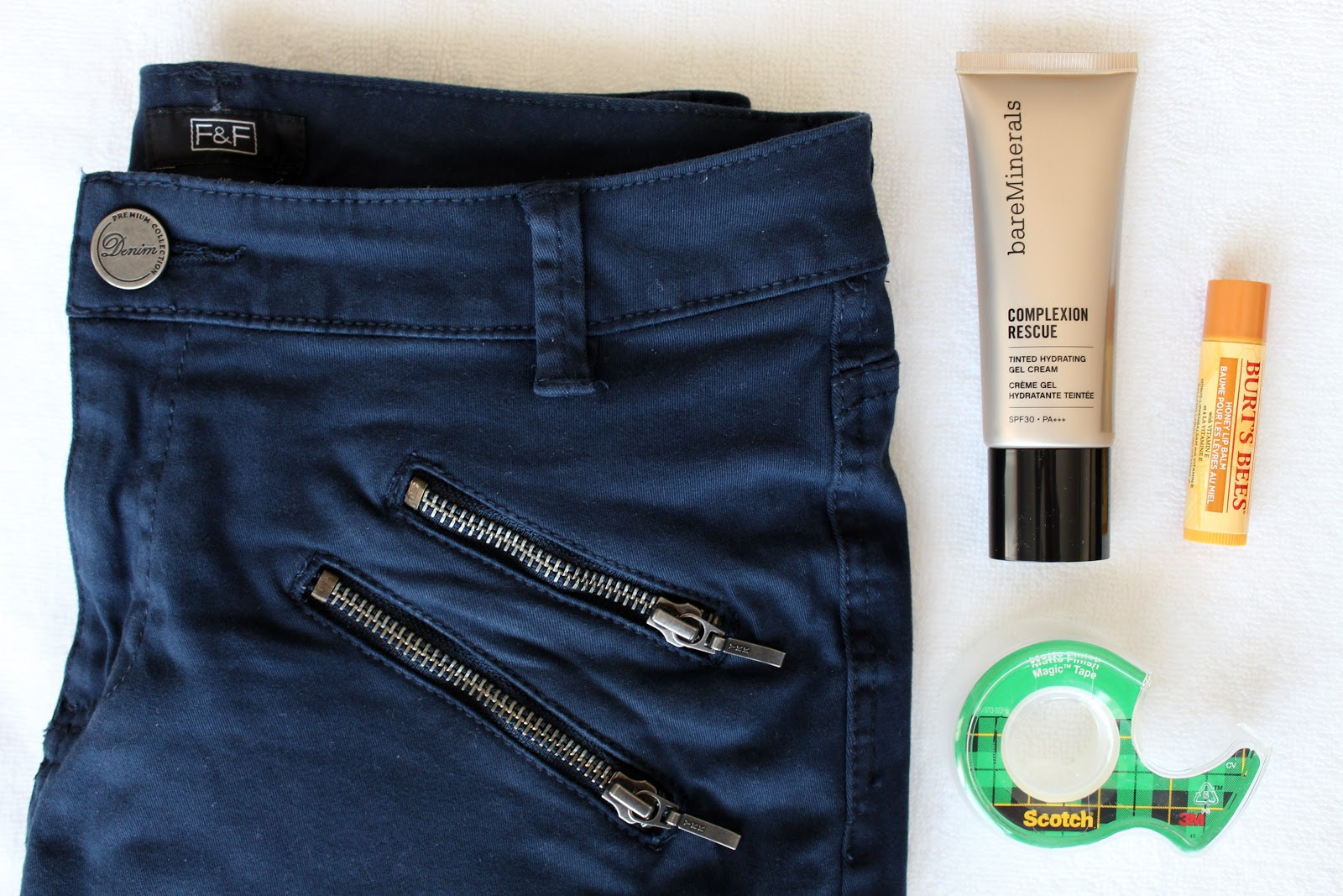Bare Minerals Complexion Rescue, Burt's Bees Lip Balm, Scotch Tape, Florence & Fred Trousers