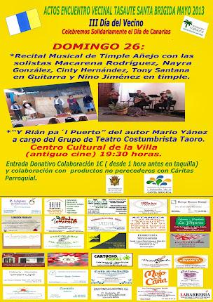 Domingo 26: Recital de TIMPLE AÑEJO y Rían Pa´l Puerto con el grupo de teatro costumbrista TAORO