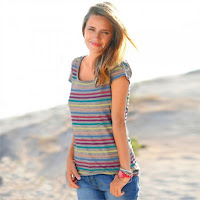 Tricou guler rotund din reiat multicolor