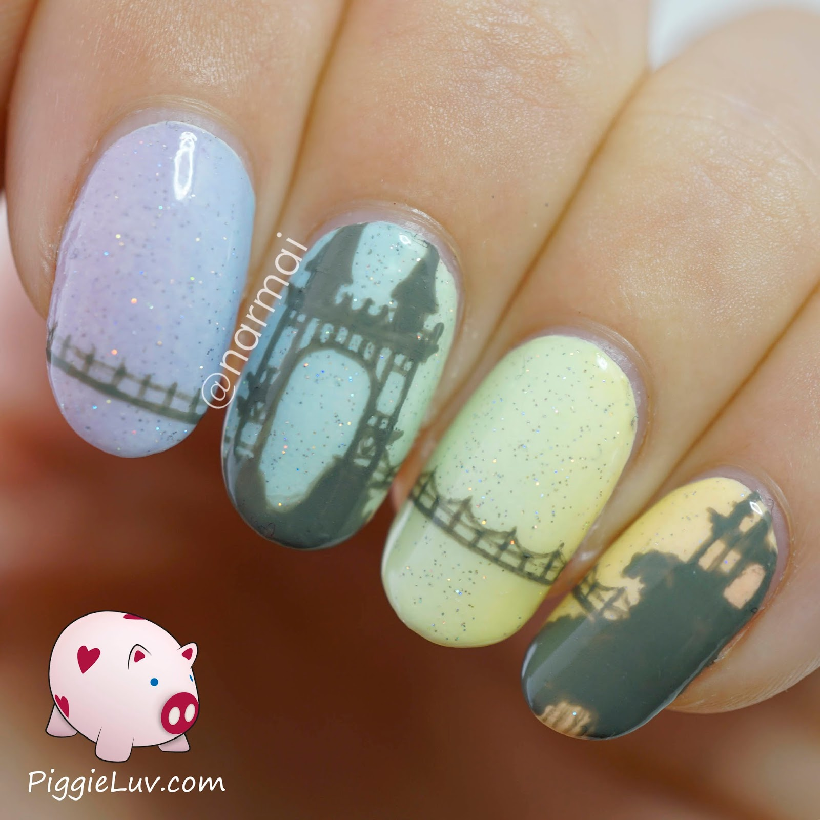 PiggieLuv: Freehand castle on pastel gradient nail art + video tutorial