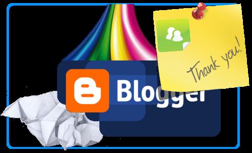 Логотип Blogger и желтый стикер