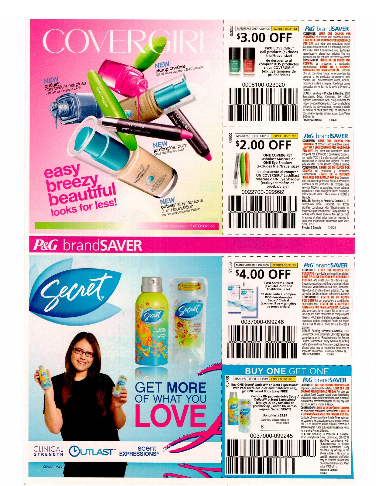 ... Coupon Inserts: SOLD OUT 4/28 Proctor and Gamble Whole Coupon Inserts