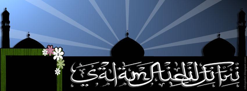 kaligrafi idul fitri biru fb cover html original source mbegedut