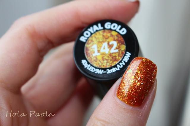 Lakier hybrydowy Semilac 142 Royal Gold nails polish gel natural nails złoty kolor paznokci hybryda nowości semilak długie paznokcie złota czaszka diamond diamenty błyskotki