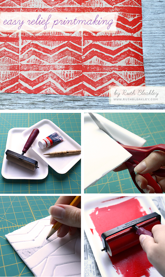 DIY Printmaking -  easy block printing tutorial using styrofoam trays
