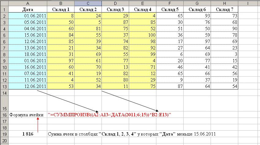 Как сделать в эксель формулу с значениями с разных листов