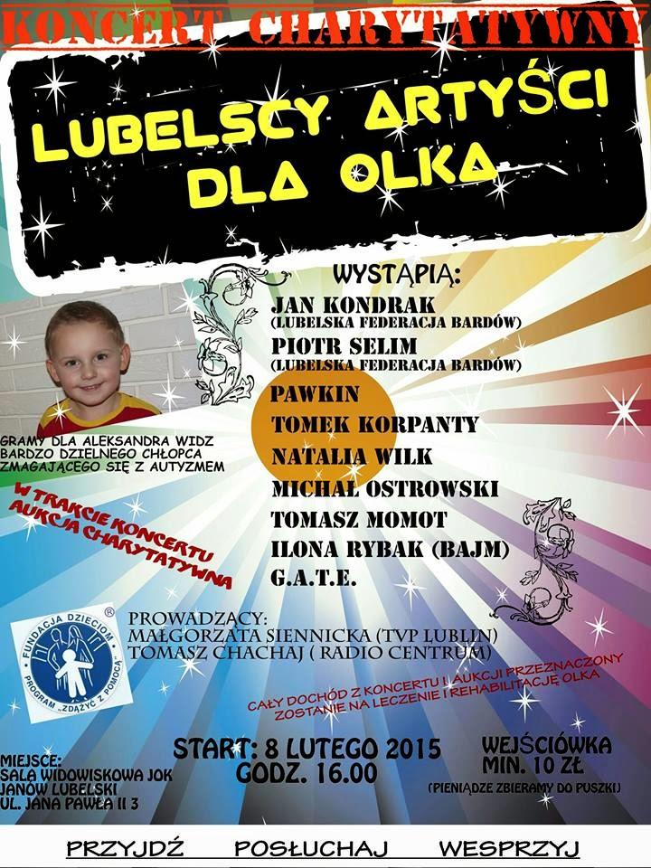Lubelscy Artyści dla Olka. Koncert w Janowskim Ośrodku Kultury. Pomóżmy chłopcu w walce z autyzmem!