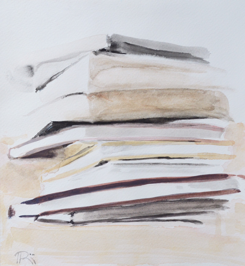 book pile painting, balance, white, caremel, tea tones, chocolate brown, pale yellow, impressionism contemporary art