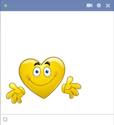 Facebook heart smiley giving a hug