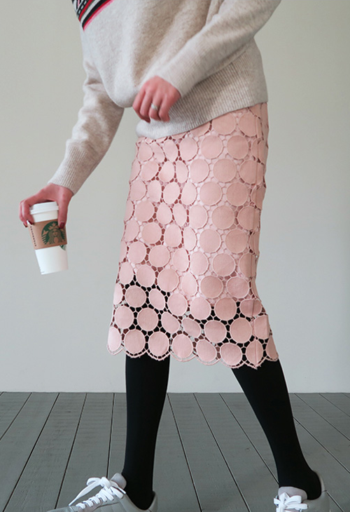 Dot Lace Overlay Skirt