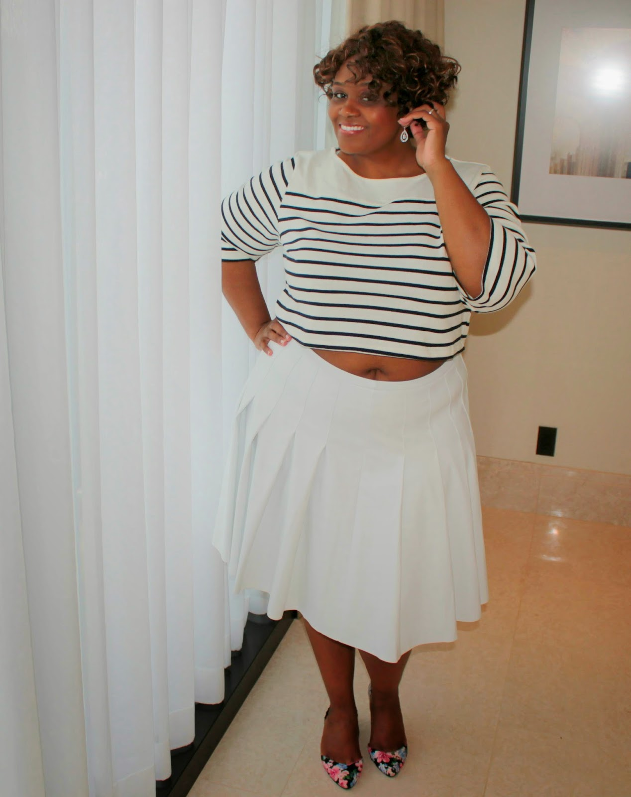 calvin klein plus size white leather pleated skirt+hm striped crop top