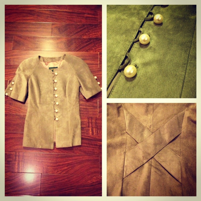 Danier retro leather blazer with pearl buttons, green leather blazer, blazer with pearl buttons, thirted treasure