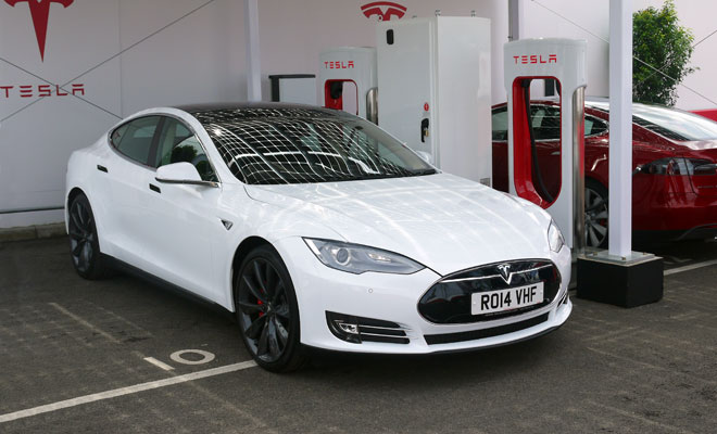 Tesla Model S charging via Supercharger