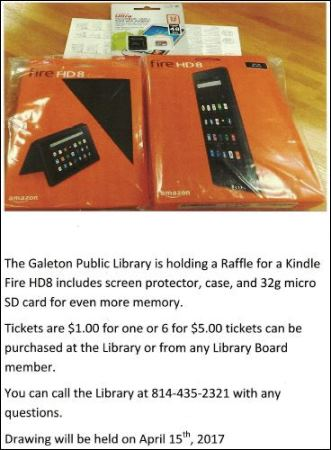 4-15 Raffle For A Kindle Fire Galeton Library