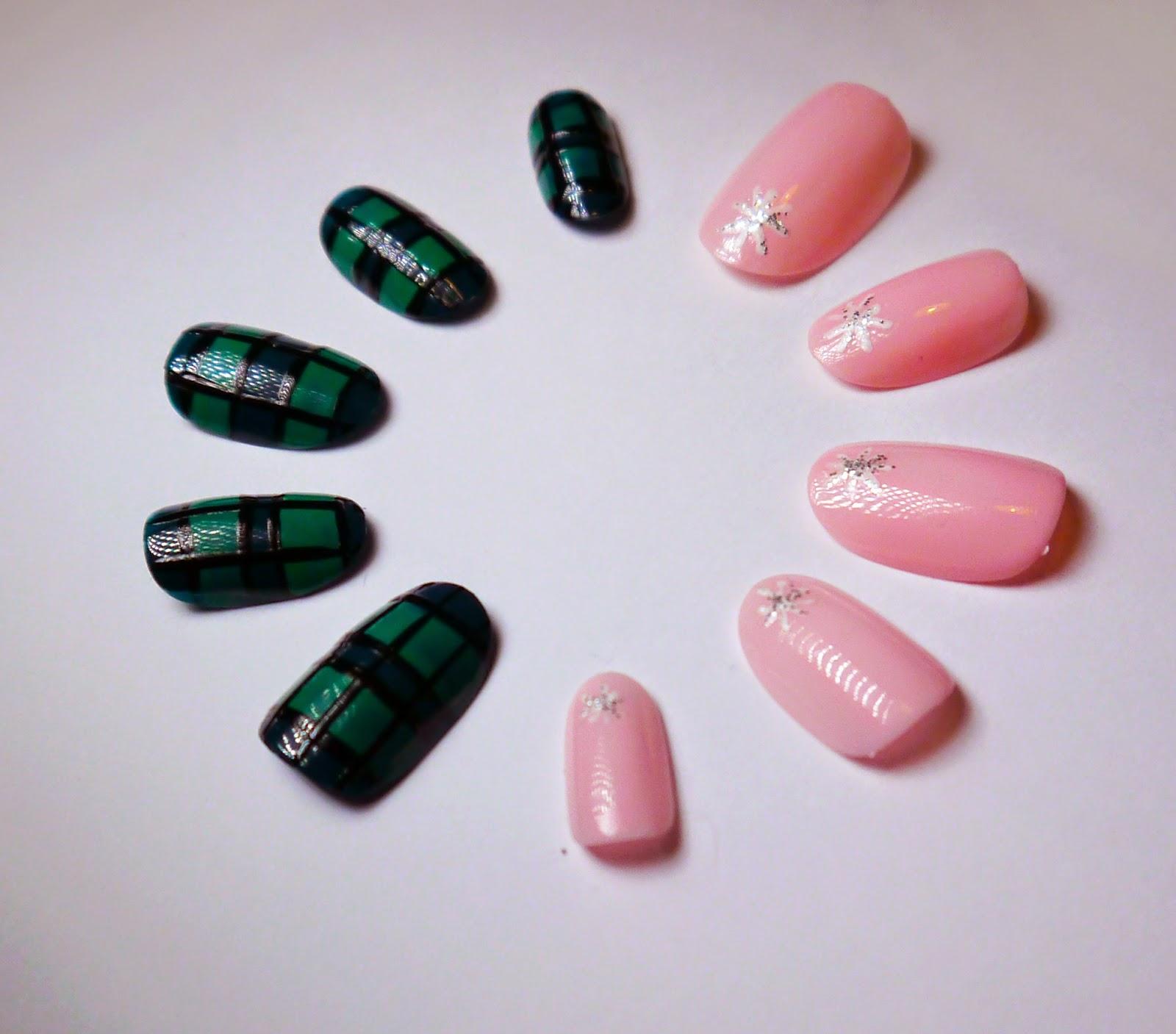 Nail art, tartan nail art, pink nail art