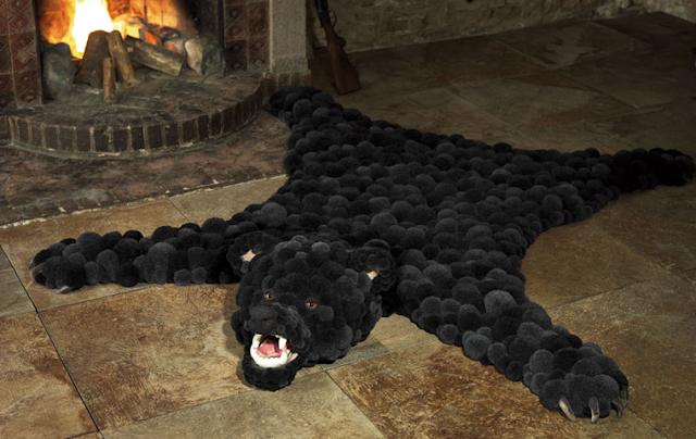 pom pom bearskin rug