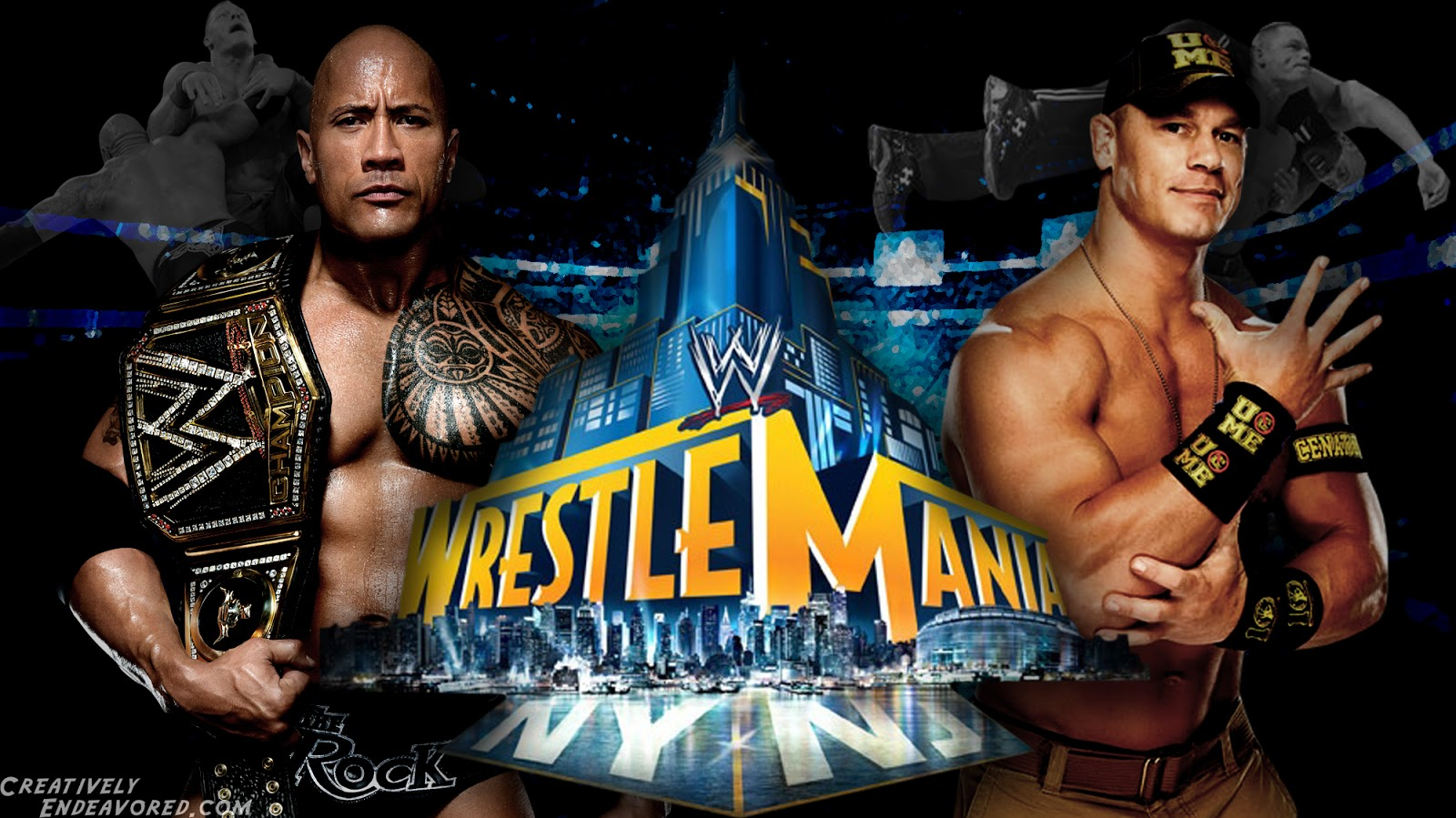 WrestleMania 29 The Rock and John Cena High Quality Wallpaper