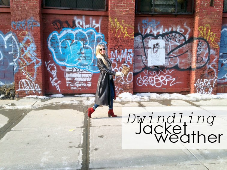 Fashion Over Reason, graffiti wall, Brooklyn, NYC, transitional weather, vintage leather trench coat