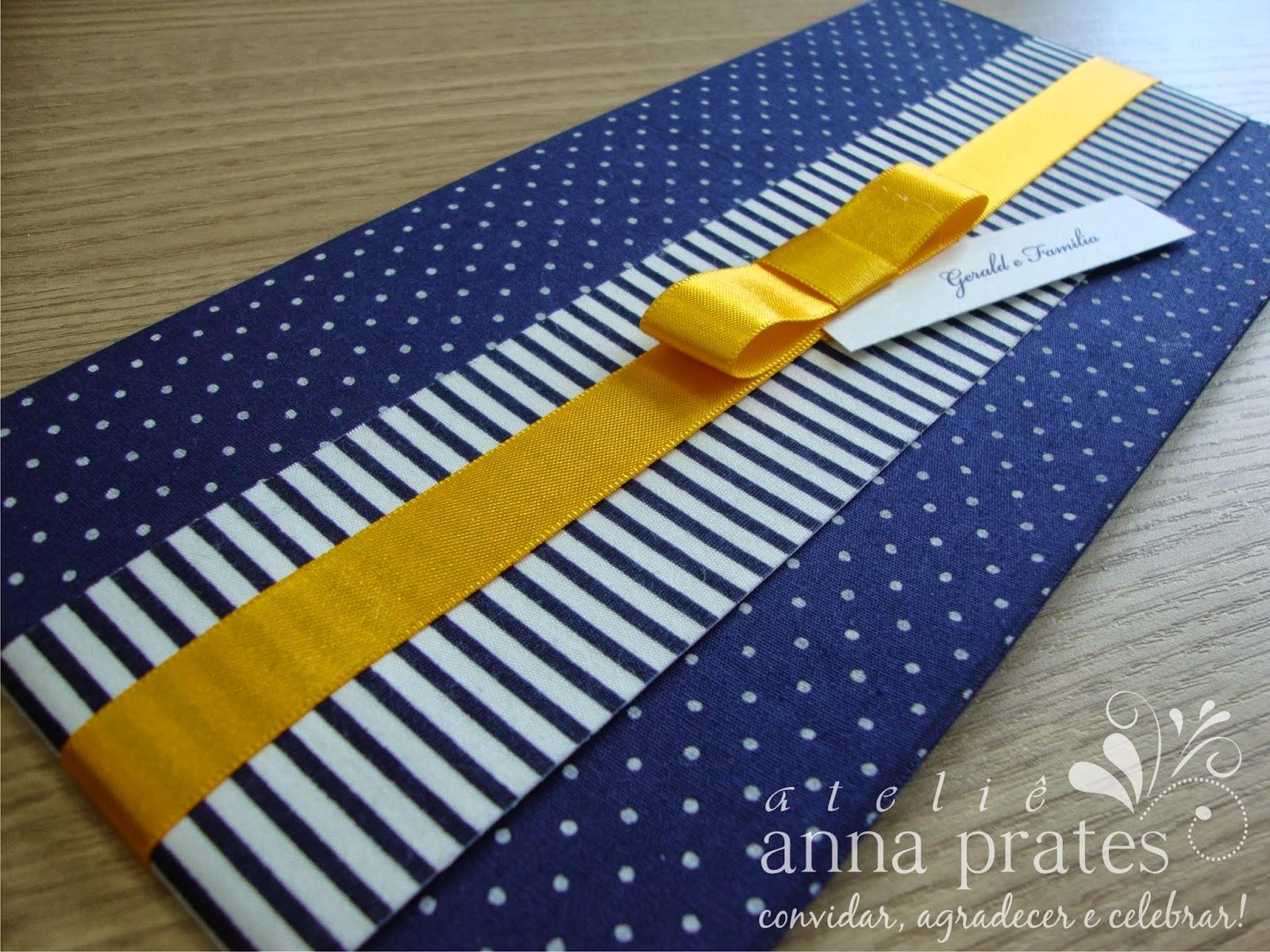 decoracao casamento azul marinho e amarelo : decoracao casamento azul marinho e amarelo: Festas: Convite com Tecido – Modelo Secret, em azul marinho e amarelo