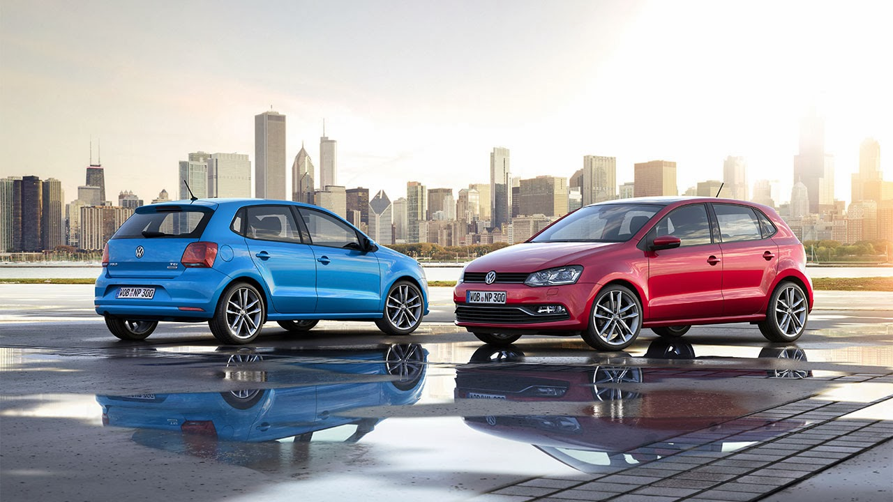 Volkswagen Polo blue and red
