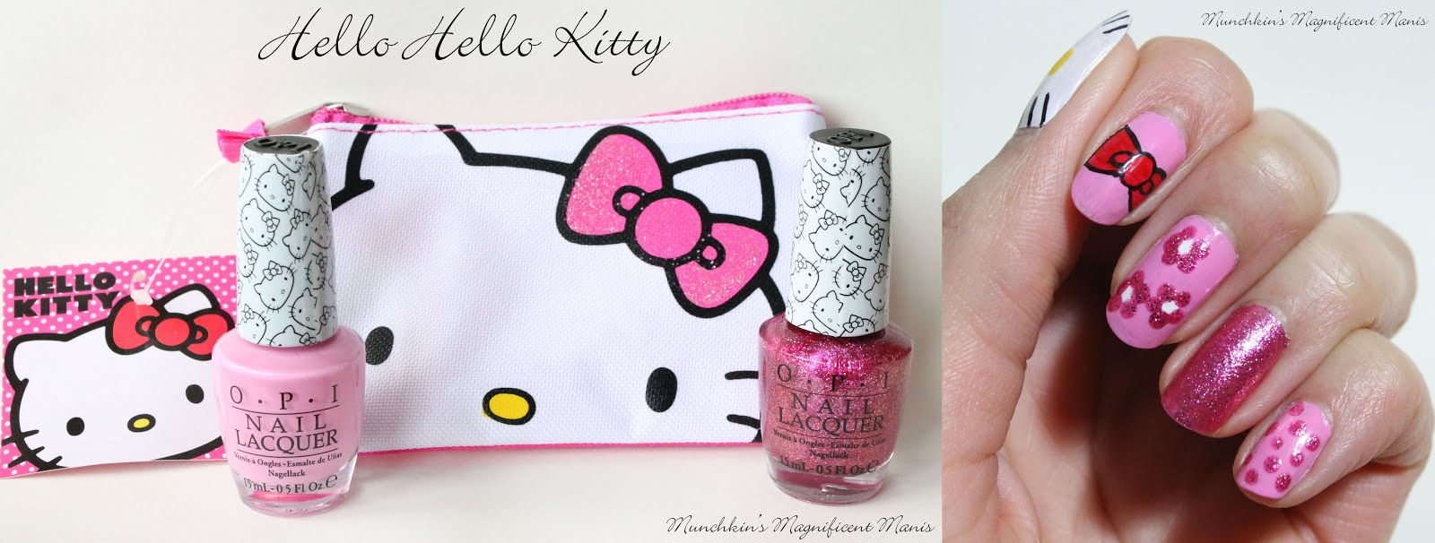 Munchkins magnificent manis hello hello kitty nail art tutorial opi hello kitty collection prinsesfo Gallery