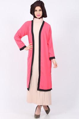 Cardigan Panjang Muslimah Warna Pink