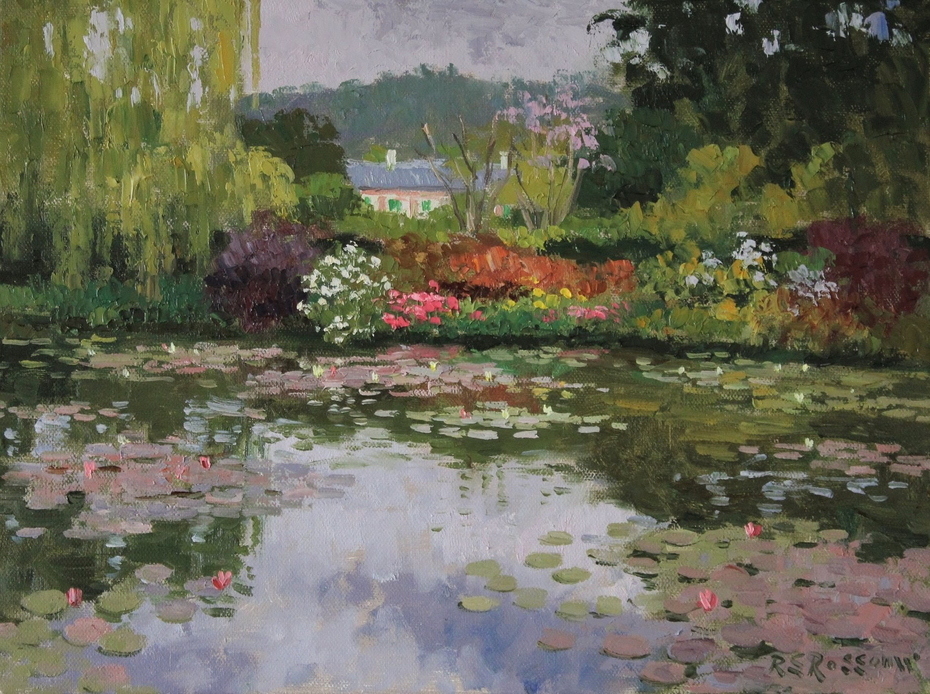 Roelof Rossouw Cloudy Day Monets Lily Pond Giverny
