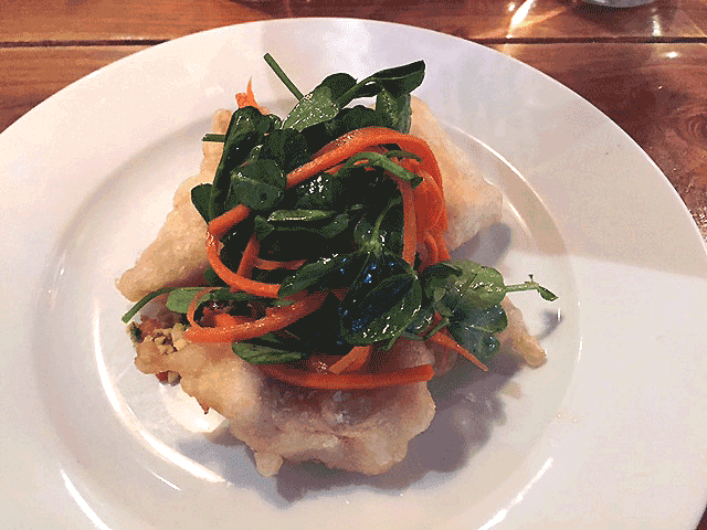 Haddock tempura, curried parsnip, pickled carrot & pea shoots.