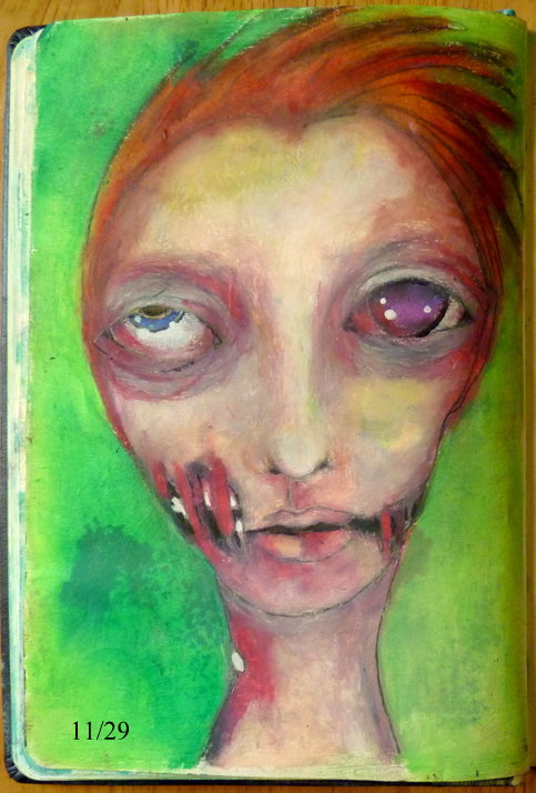Whoopidooings: Carmen Wing - Zombie face in my sketchbook. Oil pastels. #29Faces