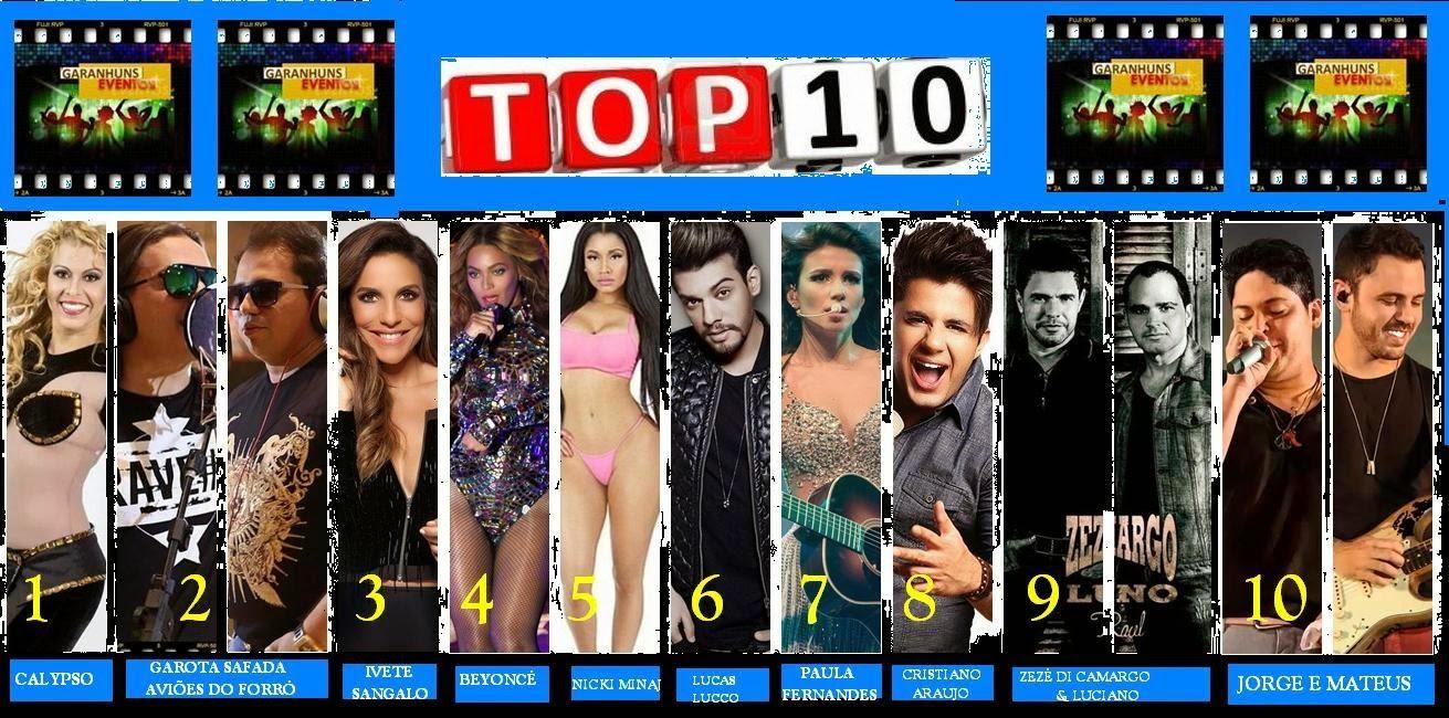 TOP 10 VAI DE CALYPSO A BEYONCÉ CONFIRA AS MUSICAS MAIS VOTADAS