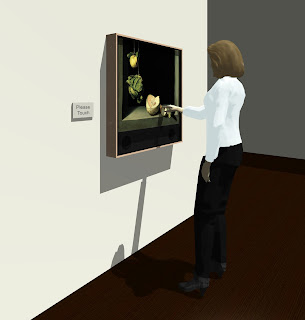 Photo of exhibit panel on wall, being used by woman standing in front of it