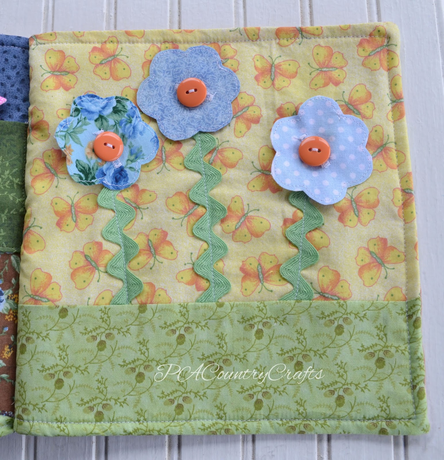 Button Flowers Fabric Quiet Book