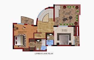Czar Suites :: Floor Plans:-Darius 6 - Upper Floor Plan Area - 2765 sq. ft. Terrace Area - 516 sq. ft.