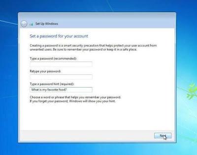 cara instal windows 7 memasukan password