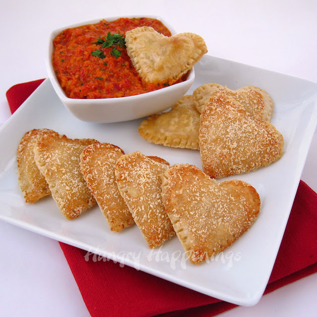 ... Cheese Filled Hearts with Roasted Red Pepper Pesto - Hungry Happenings