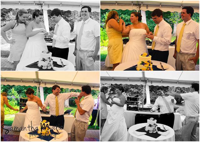 bride and groom smashing cake in friend's faces