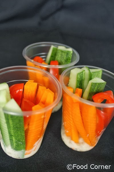 Veggie Cups with Mustard Dip