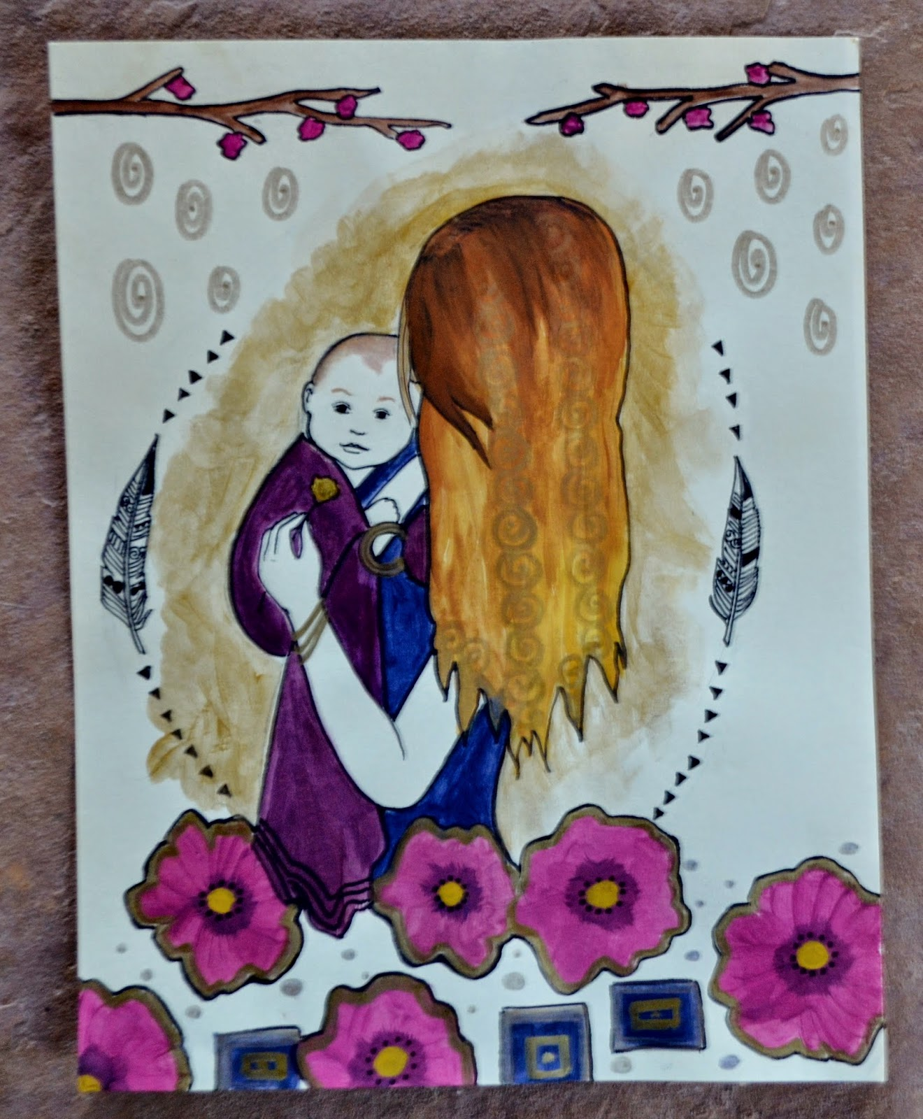custom babywearing painting catie atkinson spiritysol