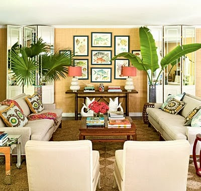 The secret to this tropical living room  Vintage furniture  colorful  fabrics  and island inspired decor that recalls a 1970s tropical resort Lush Living with Tropical Living Room Decor   Completely Coastal. Tropical Living Room Design. Home Design Ideas