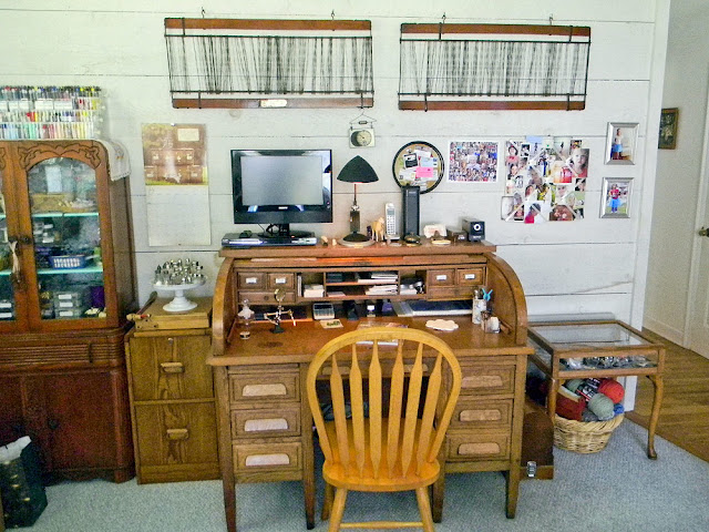 View of Antique Oak Desk
