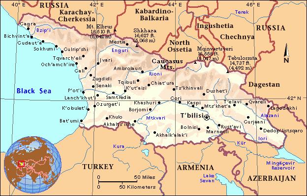 Map of Republic of Georgia