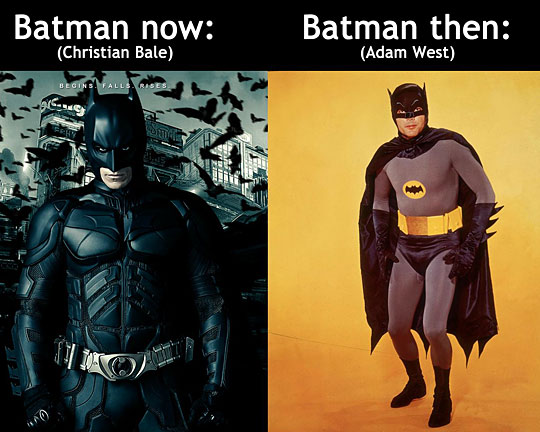 Batman Now (Christian Bale) - Batman Then (Adam West)