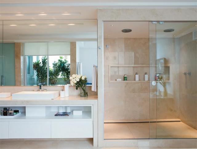 Banheiros Modernos, quais são as tendências?  Decor Salteado  Blog de Decor -> Gabinete De Banheiro Travertino